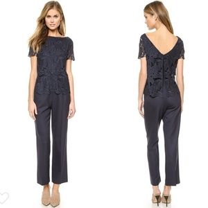 Tory Burch Avalon Jumpsuit navy blue lace overlay